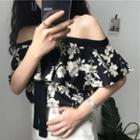 Off-shoulder Floral Blouse As Shown In Figure - One Size