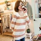 Striped Pointelle-knit Top