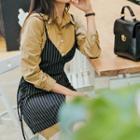 Set: Half-placket Shirtdress + Sleeveless Stripe Wrap Dress
