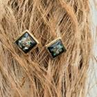 Antique Square Earrings Black - One Size