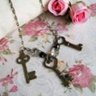 Vinatge Princess Keys Crystal Necklace