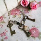 Vinatge Princess Keys Crystal Necklace