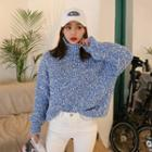 Turtleneck Pointelle Nubby-knit Sweater