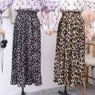 Leopard-print Pleated Midi Skirt