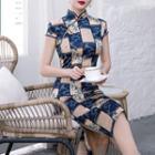 Short-sleeve Checker & Floral Print Qipao