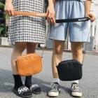Faux Leather Shoulder Bag With Lettering Strap