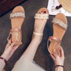 Beaded Block Heel Sandals