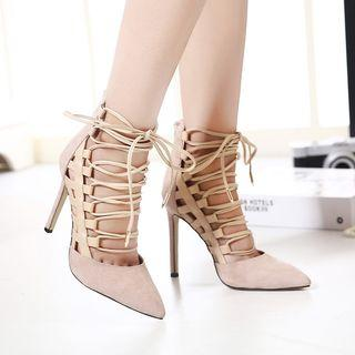 Lace-up Pointy Toe Pumps
