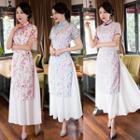 Short-sleeve Floral Midi Cheongsam