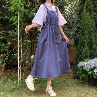 Elbow-sleeve Plain T-shirt / Shirt / Overall Dress / Crossbody Bag / Set