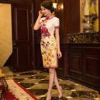Floral Print Short-sleeve Qipao