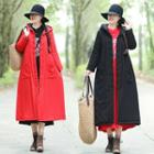 Frog-button Hooded Padded Coat