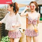 Set: Printed Bikini Top + Skirt + Cover