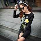 Long-sleeve Drawstring Printed Dress