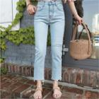 Slit Distressed Washed Straight-cut Jeans