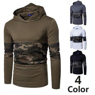Long-sleeve Printed Panel Hooded Top