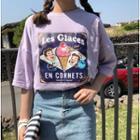 Short-sleeve Ice-cream Print T-shirt