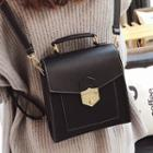 Faux Leather Twist Lock Backpack