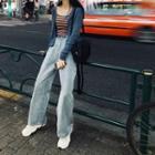 Spaghetti Strap Striped Top / Cardigan / Straight-fit Jeans / Set