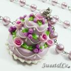 Sweet 3layer Purple Cream Cake Long Crystal Pearl Necklace