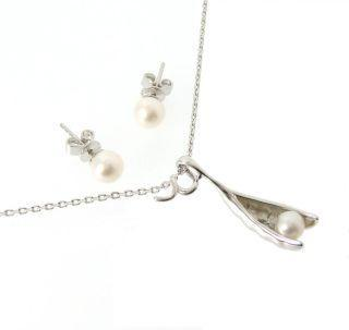 Pea In The Pod Earrings And Necklace Set (white Pearl)