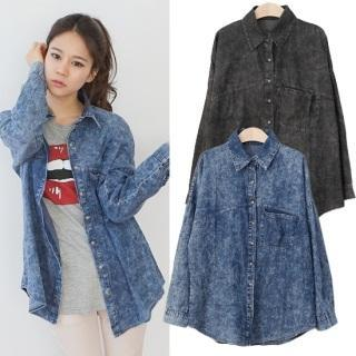 Long-sleeve Washed Denim Shirt