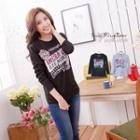 Signboard-print Long-sleeve T-shirt