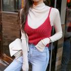 Spaghetti-strap Furry Rib-knit Top