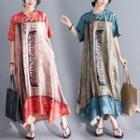 Elbow-sleeve Printed Midi Tunic Dress