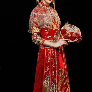 Traditioanl Chinese Long-sleeve Maxi Wedding Dress / Shawl / Set