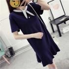 Tie-neck Short-sleeve T-shirt Dress