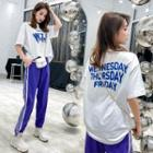 Set: Elbow-sleeve Letter T-shirt + Striped Detail Sweatpants