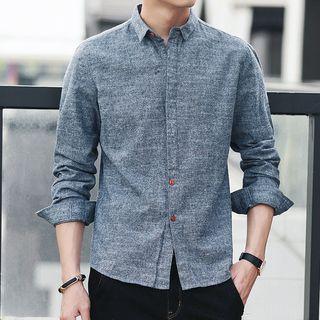 Long-sleeve Contrast Button Shirt