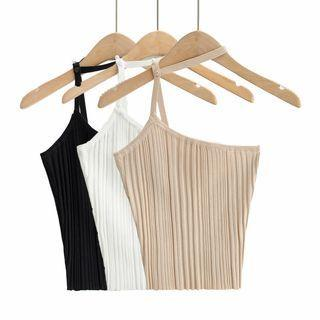 Choker-neck One-shoulder Knit Camisole Top