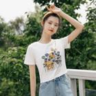 Printed Floral Short-sleeve Top