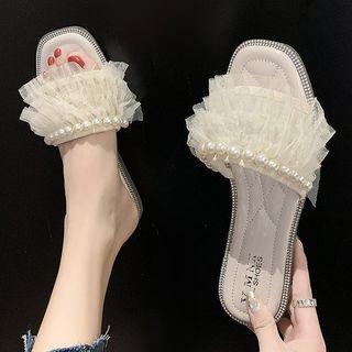 Beaded Mesh Layered Slippers