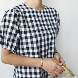 Puff-sleeve Check A-line Midi Dress With Sash