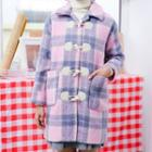Plaid Long Toggle Coat