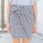 Check Fitted Skirt
