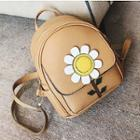 Flower Faux-leather Backpack