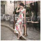 Short-sleeve Printed Long Silk Qipao
