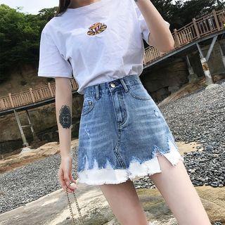 High-waist Fray-hem Denim Skirt