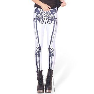Bone-print Leggings  As Figure Shown - One Size