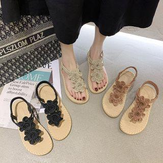 Flower Accent T-strap Slippers