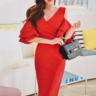 Cold Shoulder Elbow-sleeve Midi Sheath Dress