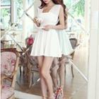 Sleeveless Tulle Panel Dress White - One Size