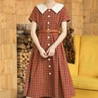 Collared Plaid Short-sleeve Midi A-line Dress