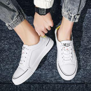 Two-tone Lettering Sneakers