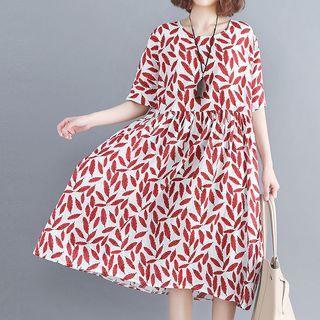 Short-sleeve Leaf Print Midi Dress Red Leaves - White - One Size