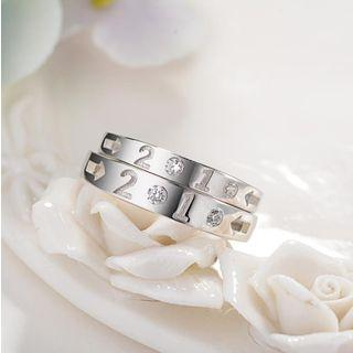 925 Sterling Silver Rhinestone Numerical Open Ring